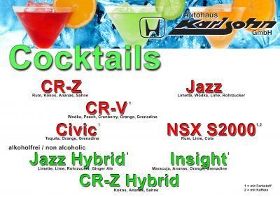 Cocktailkarte Cockttailkarte zu einem Honda-Event