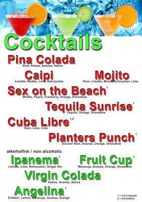 Cocktailkarte Das Muster eine Cocktailkarte