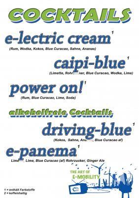 Cocktailkarte Cocktailkarte für ein RWE Event zum Thema Elektoautos