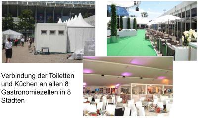 EURO 2012 Polen & Ukraine EURO 2012 Polen & Ukraine: Verbindung der Toiletten und Küchen an allen 8 Gastronomiezelten in 8 Städten.