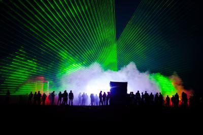 Lasershow für Firmenevent im Außenbereich