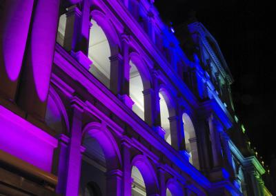 Gebäude Illumination mittels LED-Lichttechnik für Firmenfeier
