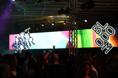 Breitbild Projektion und Mapping auf einem Event