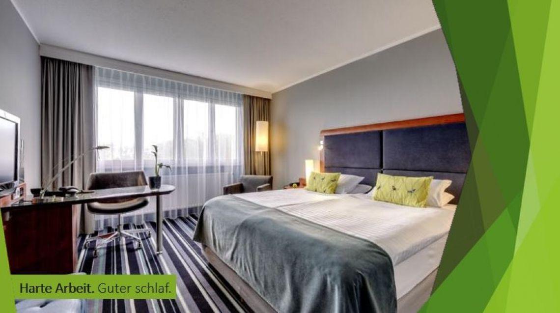 Harte Arbeit. Guter Schlaf. Hotel in der City - Hotel im Grünen - Zimmer mit Seeblick - Tagung mit Gartenanschluss