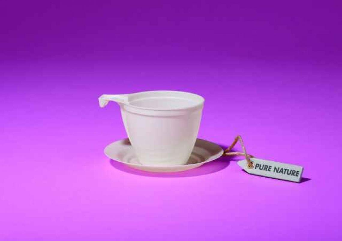 Tasse und Unterteller aus Bio-Kunststoff C-PLA Elegante Kombi - trotzdem biologisch abbaubar