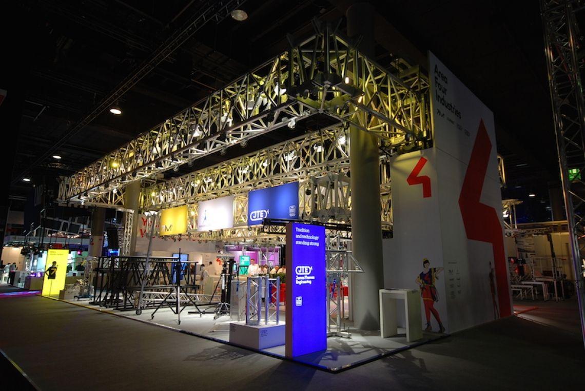 Prolight & Sound Impression des gemeinsamen Messestandes der A4I Brands MILOS, TOMCAT, LITEC, JTE, EXE Technology, Mobiltechlifts, Xtruss, Xstage