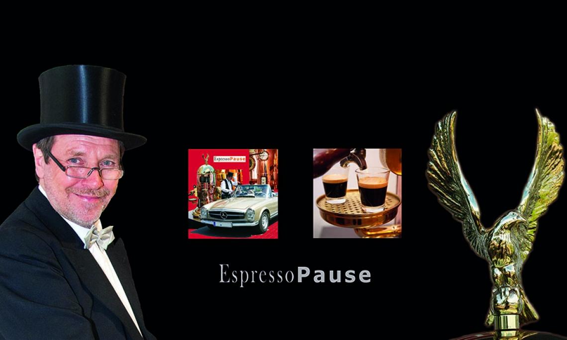 Foto: EspressoPause Wolfgang Risters - der Barista mit dem Zylinder