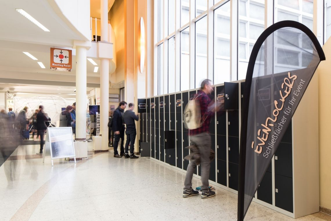 Schließfächer für die Besucher auf der BOE 2018 in Dortmund Besucher und Aussteller konnten auf der BOE 2018 ihre Taschen, Jacken und Wertsachen sicher in den Eventschließfächern von Eventlockers verschließen.