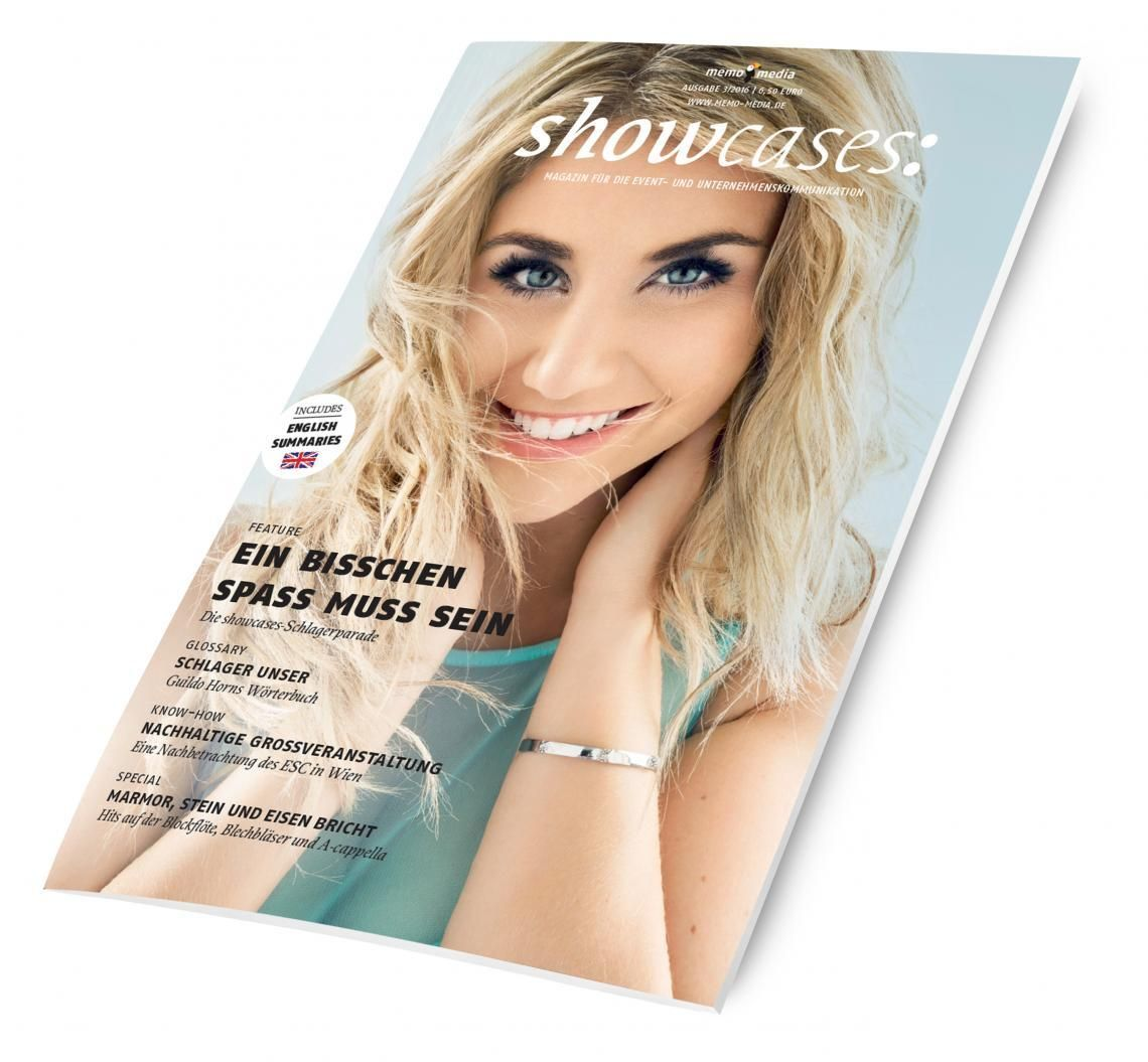 03/2016 Neben dem Online- und Printverzeichnis publiziert die memo-media Verlags-GmbH quartalsweise das Magazin showcases. Anhand von Fallbeispielen zeigt showcases auf, wie künstlerische Darbietungen im Sinne der Kommunikation eingesetzt werden können.