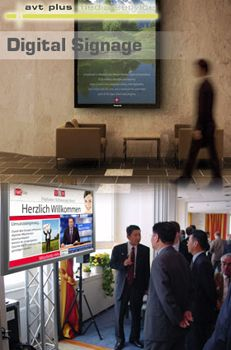 Digital Signage Digital Signage  Präsentieren Sie Ihr eigenes Programm! Informieren Sie Besucher und Mitarbeiter auf repräsentative Weise. Mit Digital Signage können Sie an vielen verschiedenen Standorten stets aktuelle Mitteilungen zeigen.