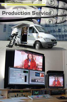 Production Service Production Service  Beste Technik und ein produktives Arbeitsklima. Das sind die Gründe, weshalb viele Produzenten auf die avt plus Produktionstechnik setzen. Hier entstehen TV-Features, Magazinbeiträge, Imagefilme, Werbe- und Musikclips, ganze Spielfilmmontagen und andere TV-Formate.