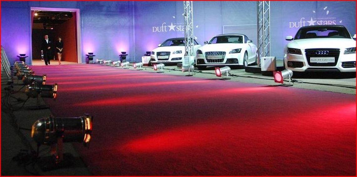 Audi Abendveranstaltung roter Teppich, Beleuchtung