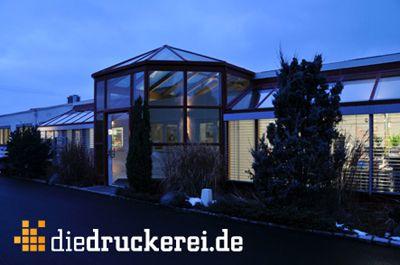 Eingang zu den Büros der Onlineprinters GmbH Neben den Büroräumen befinden sich die Plattenbelichtung sowie eine Produktionshalle.