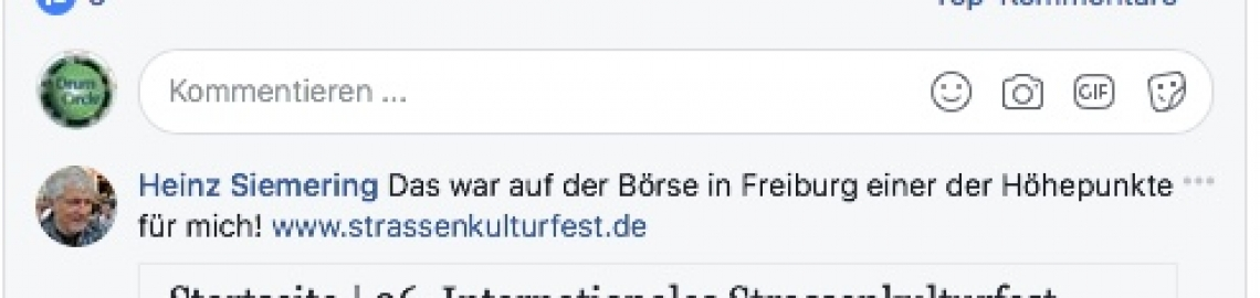 Drum Circle - Teilnehmer-Impressionen, auf Facebook Kommentar nach dem Drum Circle auf der int. Kulturbörse in Freiburg 2017