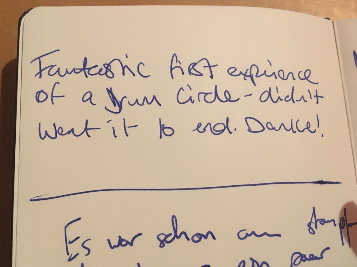 Drum Circle - Impressionen, Gästebucheintrag #1