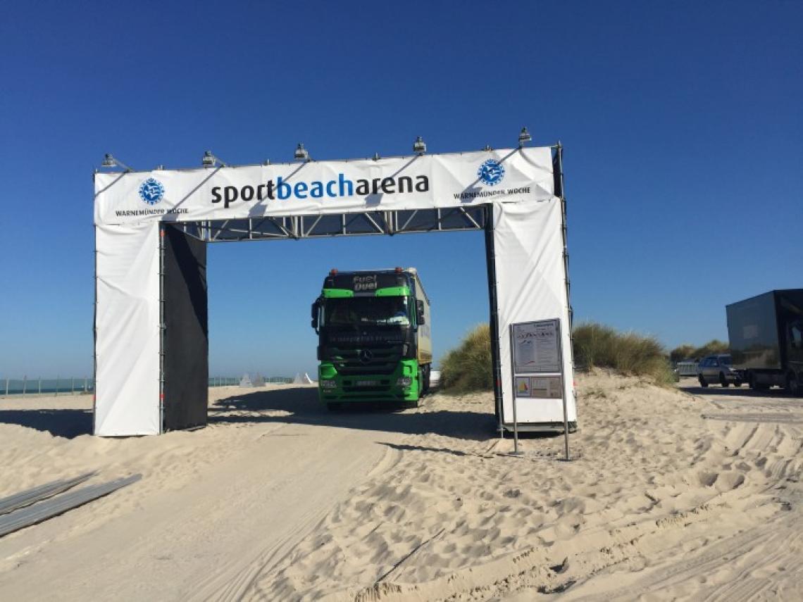 Sportbeacharena - Warnemünde Werbetor am Strandaufgang (Windzone 4 Küste)