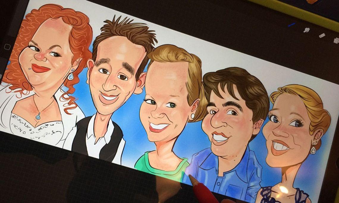Braut mit Freunden Ein Beispiel für eine Gruppenkarikatur. Kann auf Wunsch im voraus oder im Nachgang angefertigt werden. Auch geeignet für Jubilare, Tagungsteilnehmer, Büroteams, Familien...