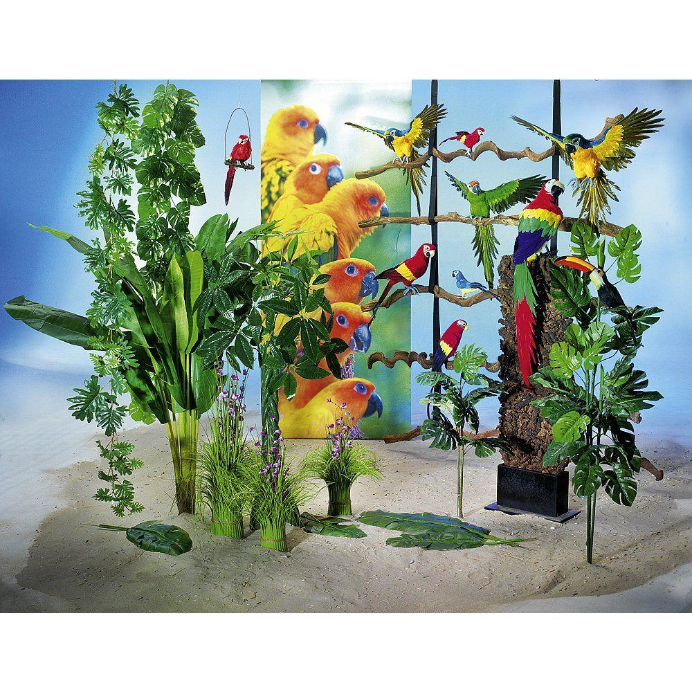 Dekoidee Papageien Welcome to the Jungle - eine tolle Dekoidee mit der Sie Ihre Location mit überschaubarem Aufwand in eine Dschungelwelt verwandeln. Exotische Dschungelpflanzen und Blüten, Papageien in all ihrer Farbenpracht und Lianen-Stämme runden die Dekoration wunderschön ab.