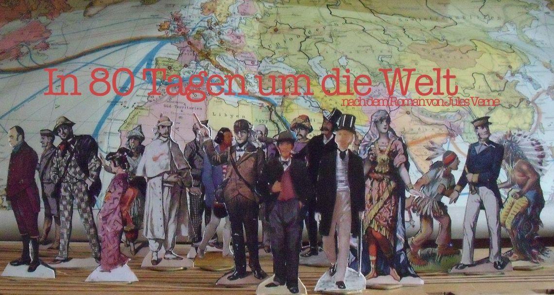 """Ein Teil der Crew der Mitspieler aus dem Papiertheater-Schauspiel """"In 80 Tagen um die Welt"""". Kurz vor der Premiere am 11.09.2011"""