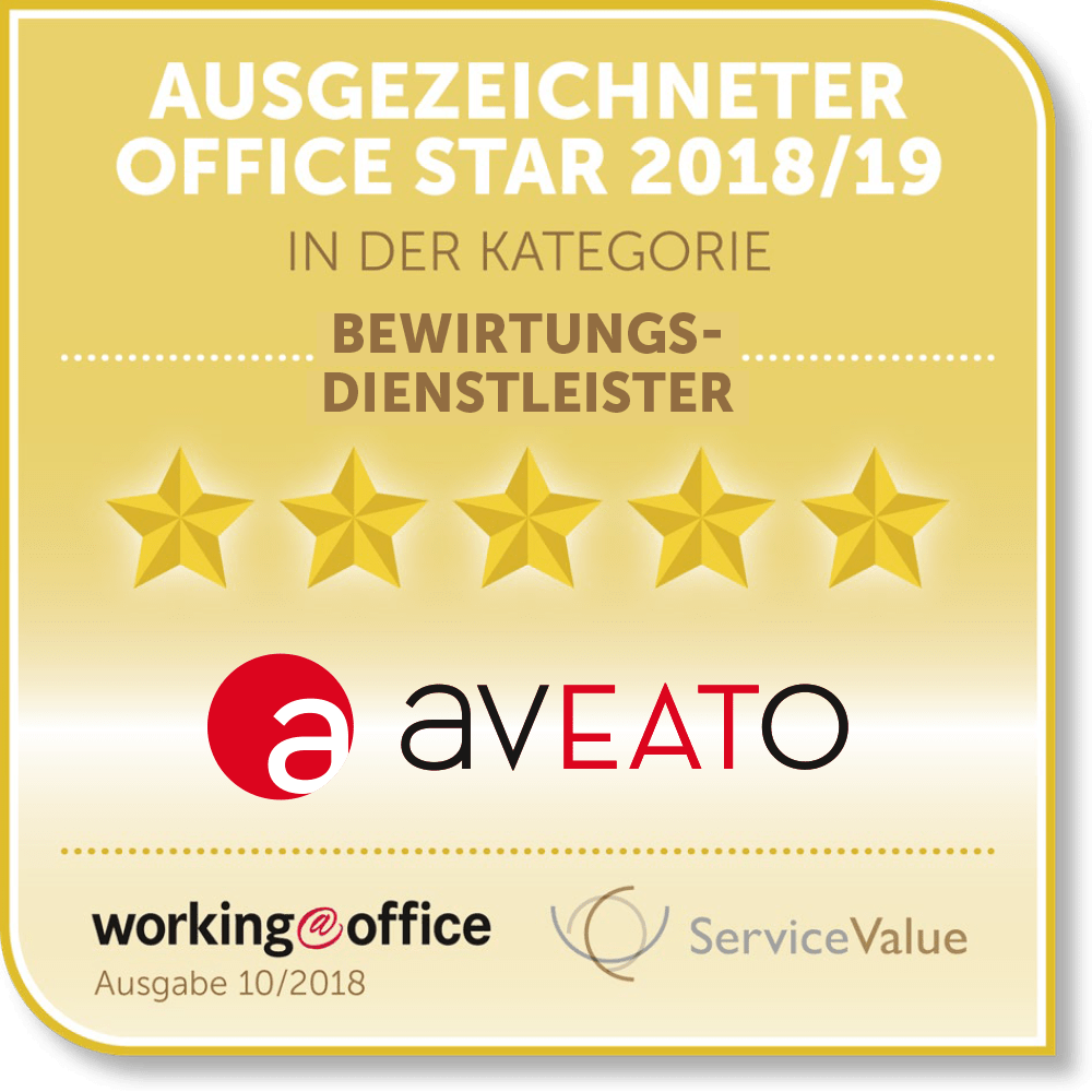 Testsieger im Office Catering 2018/2019 20.000 Office Manager wählen aveato zur Catering Firma Nr. 1 für Business Catering.