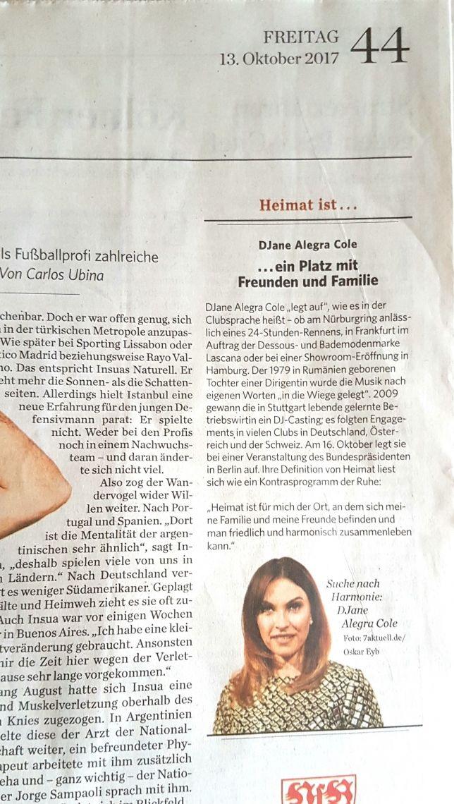 Stuttgarter Zeitung Pressebericht  Auftritt für den Bundespräsidenten in Berlin