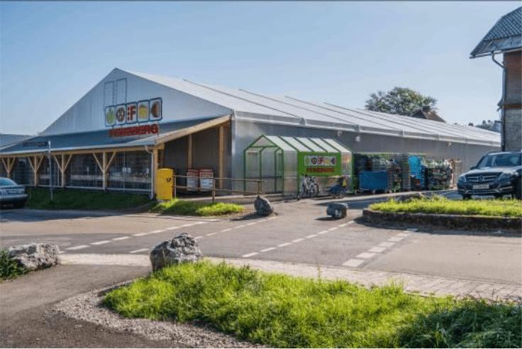 Supermarkt nutzt temporäre Losberger Leichtbauhalle