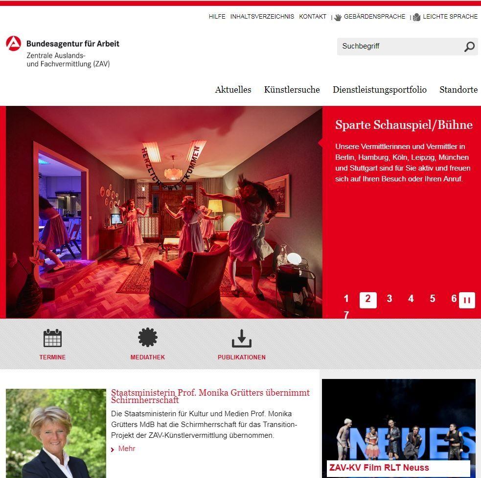 Die neue Website der ZAV-Künstlervermittlung ist online