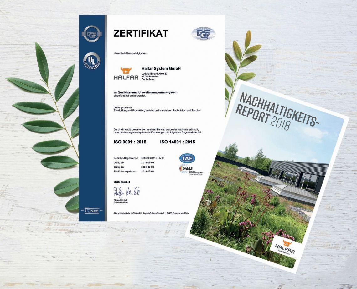Taschenexperte Halfar System ist ISO 14001:2015 zertifiziert