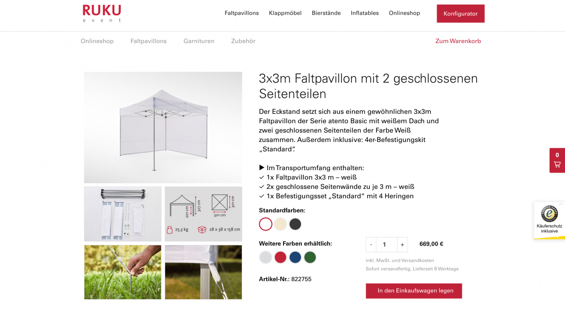 Faltpavillons vom Hersteller – jetzt auch online bestellen