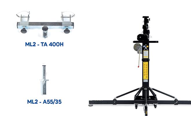 Mobiltechlifts ML2 hebt Ihre Traversen sicher auf bis zu 6,5 Meter!