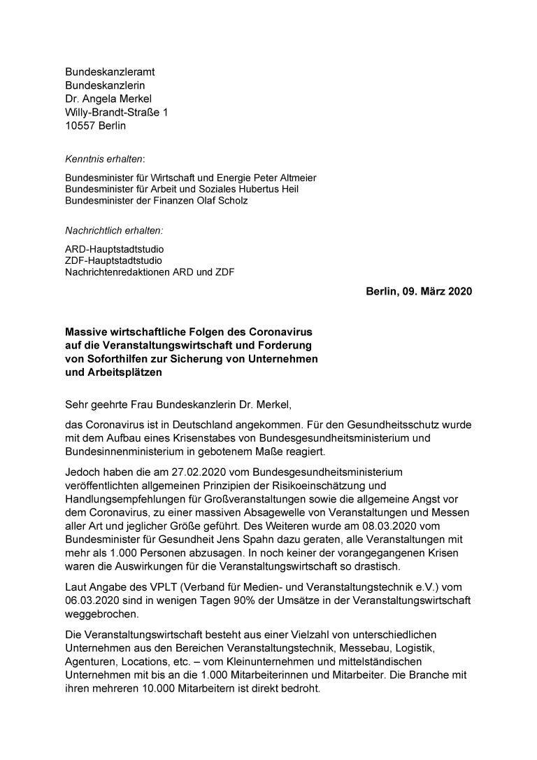 Offener Brief an de Bundeskanzlerin: Massive wirtschaftliche Folgen des Coronavirus auf die Veranstaltungswirtschaft und Forderung von Soforthilfen zur Sicherung von Unternehmen und Arbeitsplätzen