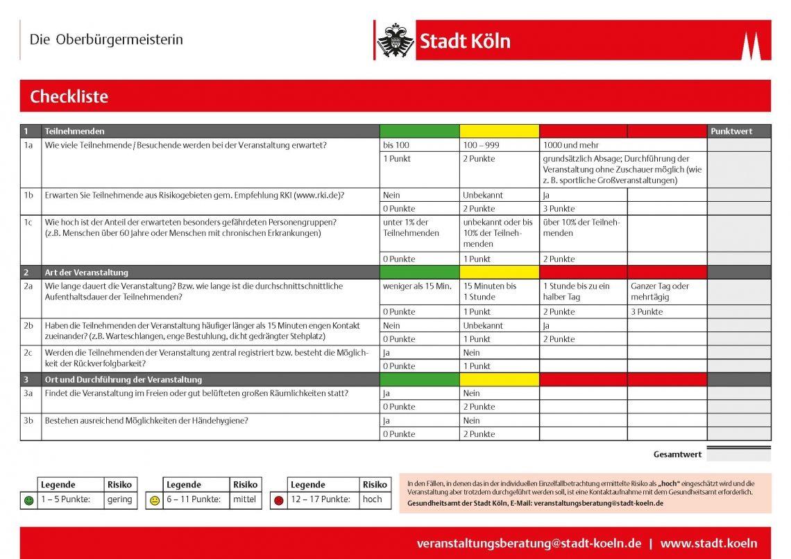 Corona-Virus-Checkliste für Veranstaltungen