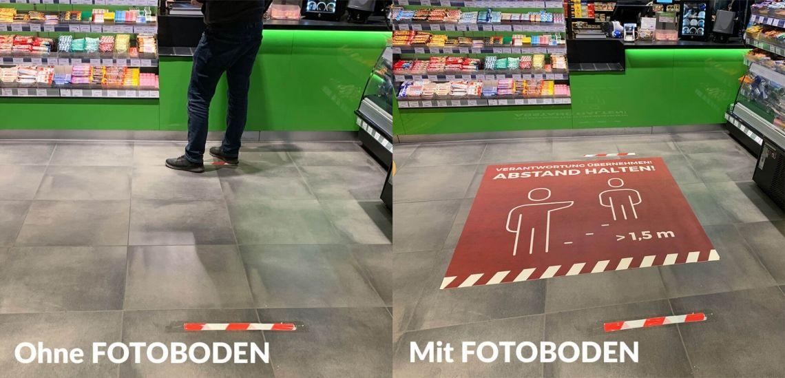 COVID-19 Social Distancing Bodenmatten aus FOTOBODEN™