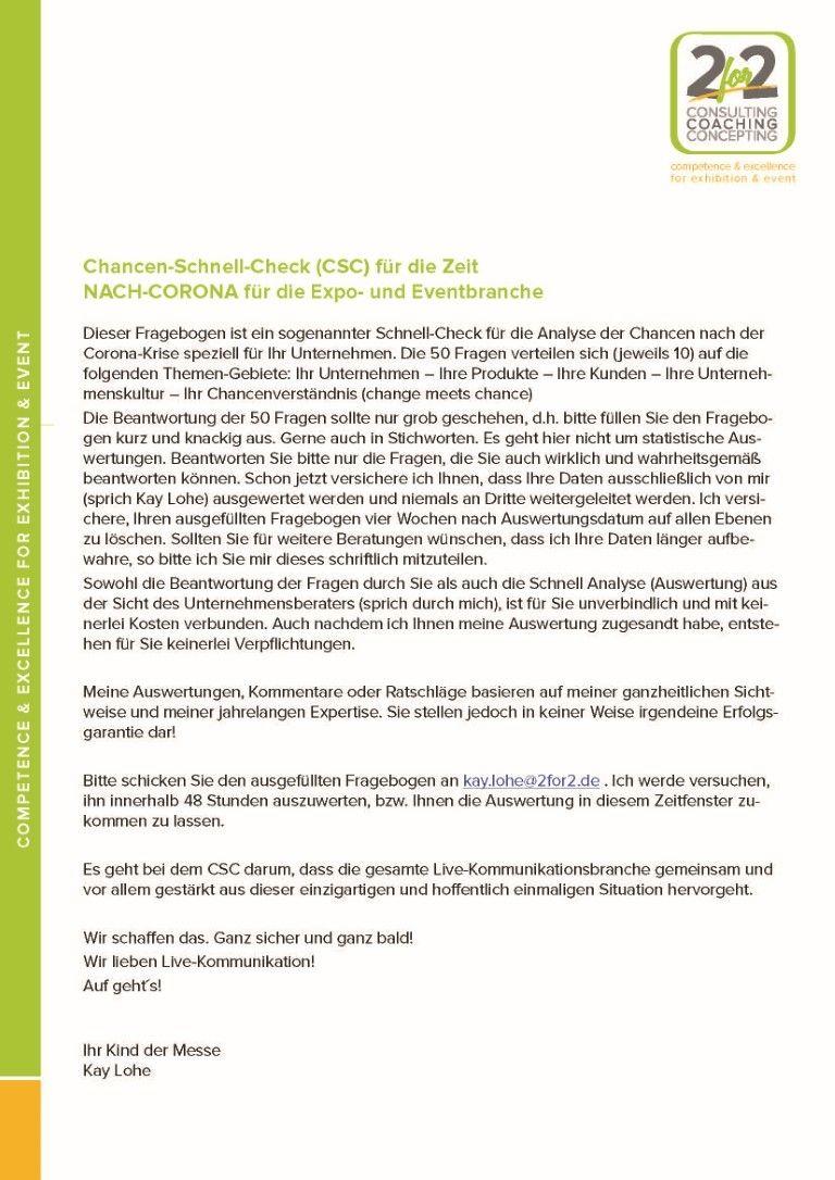 Change meets Chance - Fragebogen zu Chancen-Schnell-Check
