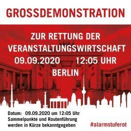 Großdemonstration zur Rettung der Veranstaltungswirtschaft mit zentraler Kundgebung am Brandenburger Tor