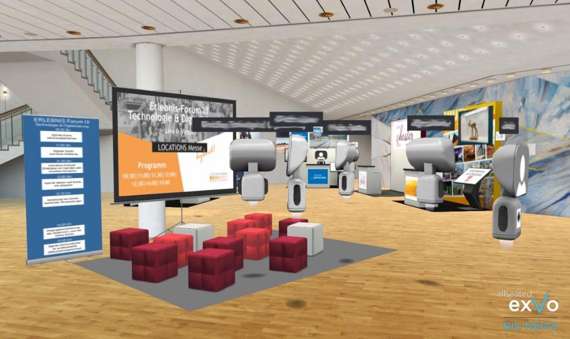 allseated launcht exVo – die neue Plattform verbindet live + virtuell  |  Auftakt macht die virtuelle Welt der LOCATIONS Messe hybrid Region Stuttgart