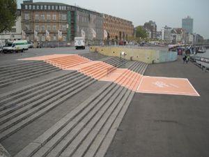 Sightseeing-Treppe am Burgplatz wird zum Tennisfeld