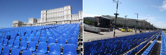 eps baut Tribüne für AC/DC Show in Bukarest - Der Rock'n' Roll Train rollt wieder durch Europa