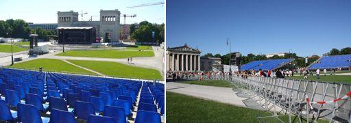 Mit Eric Clapton auf dem Münchner Königsplatz - eps liefert Tribünen und Infrastruktur für die Together Live Tour 2010