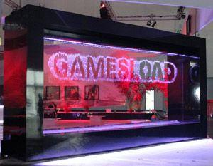 Watershow.de installierte grafikfähige Wasserwand für nc soft auf der gamescom 2012 in Köln