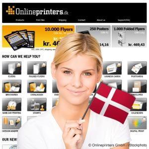 Onlinedruckerei mit Onlineshop onlineprinters.dk jetzt in Dänemark