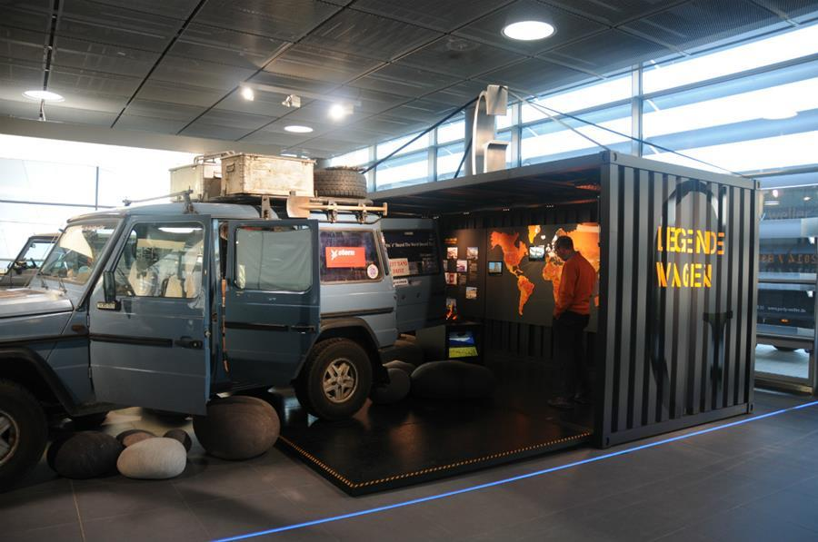 Faltbarer Container mo pop in der Legendewagen-Ausstellung