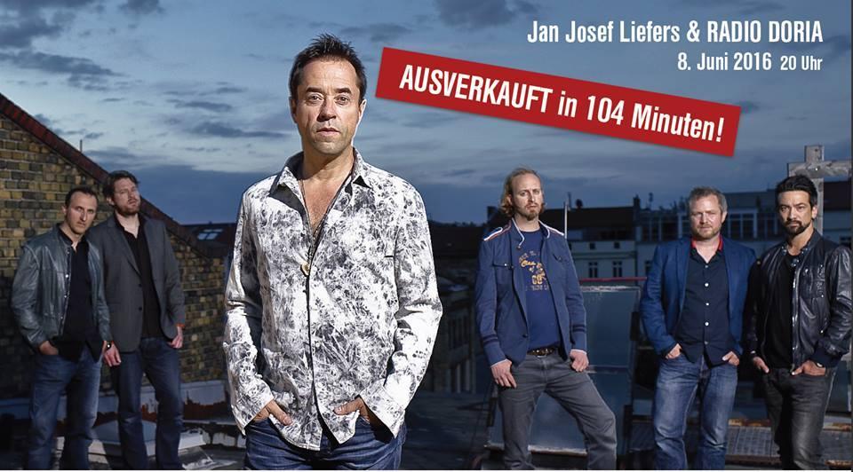 Auch 2. Konzert von Jan Josef Liefers und Band DORIA in Rekordzeit ausverkauft!