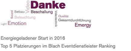 Blach Report Eventdienstleister-Ranking 2016 - Ein guter Start ins neue Jahr