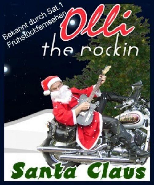 The rockin Santa Claus mit E-Gitarre und Motorrad