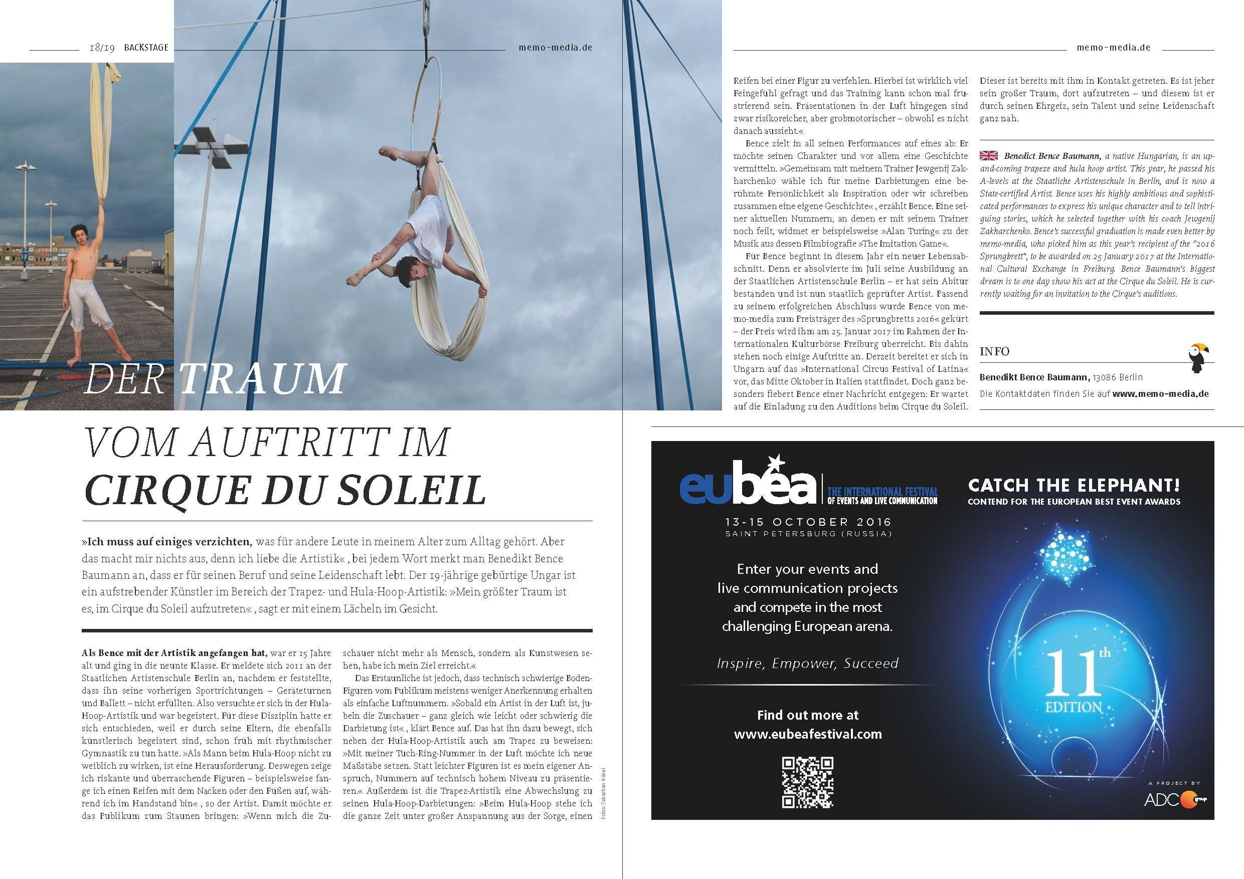 Der Traum vom Auftritt beim Cirque de Soleil